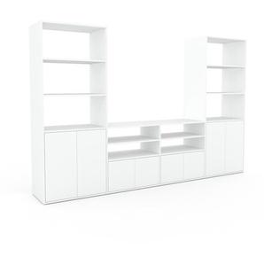 Meuble TV - Blanc, moderne, meuble hifi et multimedia, élégant, avec porte Blanc - 301 x 195 x 47 cm, configurable