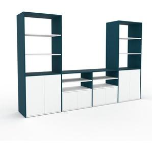 Meuble TV - Bleu, moderne, meuble hifi et multimedia, élégant, avec porte Blanc - 301 x 195 x 47 cm, configurable