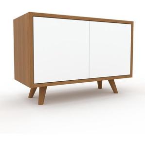 Meuble TV - Chêne, moderne, meuble hifi et multimedia, élégant, avec porte Blanc - 77 x 53 x 35 cm, configurable