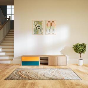Meuble TV - Chêne, design, meuble hifi, multimedia, avec porte Chêne et tiroir Bleu - 190 x 41 x 47 cm