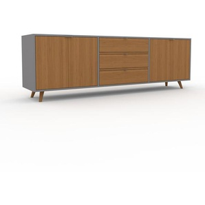 Meuble TV - Chêne, design, meuble hifi, multimedia, avec porte Chêne et tiroir Chêne - 226 x 72 x 47 cm