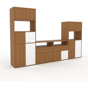 Meuble TV - chêne, design, meuble hifi, multimedia, avec porte chêne et tiroir chêne - 301 x 195 x 47 cm