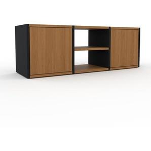Meuble TV - Noir, moderne, meuble hifi et multimedia, élégant, avec porte Chêne - 118 x 41 x 35 cm, configurable