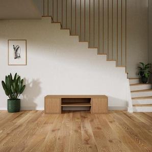 Meuble TV - Chêne, moderne, meuble hifi et multimedia, élégant, avec porte Chêne - 154 x 41 x 47 cm, configurable
