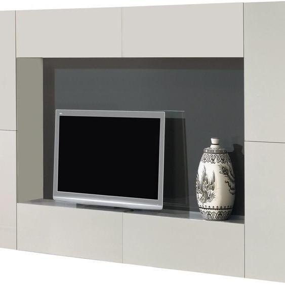 Meuble TV design laqué gris 4 portes 4 tiroirs