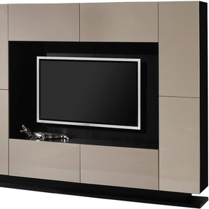 Meuble TV design laqué taupe 4 portes 4 tiroirs