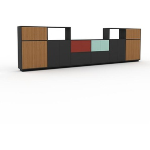 Meuble TV - Anthracite, design, meuble hifi, multimedia, avec porte Chêne et tiroir Anthracite - 450 x 124 x 35 cm