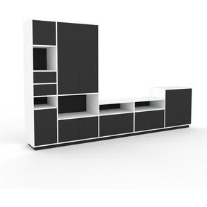 Meuble TV - Anthracite, design, meuble hifi, multimedia, avec porte Anthracite et tiroir Anthracite - 339 x 200 x 47 cm