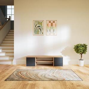 Meuble TV - Chêne, moderne, meuble hifi et multimedia, élégant, avec porte Anthracite - 154 x 41 x 47 cm, configurable