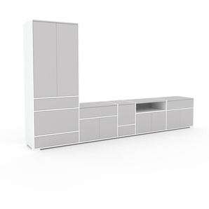 Meuble TV - Gris clair, design, meuble hifi, multimedia, avec porte Gris clair et tiroir Gris clair - 339 x 196 x 47 cm