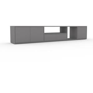Meuble TV - Gris, design, meuble hifi, multimedia, avec porte Gris et tiroir Gris - 229 x 41 x 35 cm