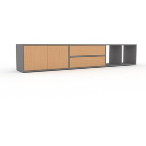 Meuble TV - Gris, design, meuble hifi, multimedia, avec porte Hêtre et tiroir Hêtre - 229 x 41 x 35 cm
