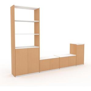 Meuble TV - Hêtre, moderne, meuble hifi et multimedia, élégant, avec porte Hêtre - 265 x 195 x 35 cm, configurable