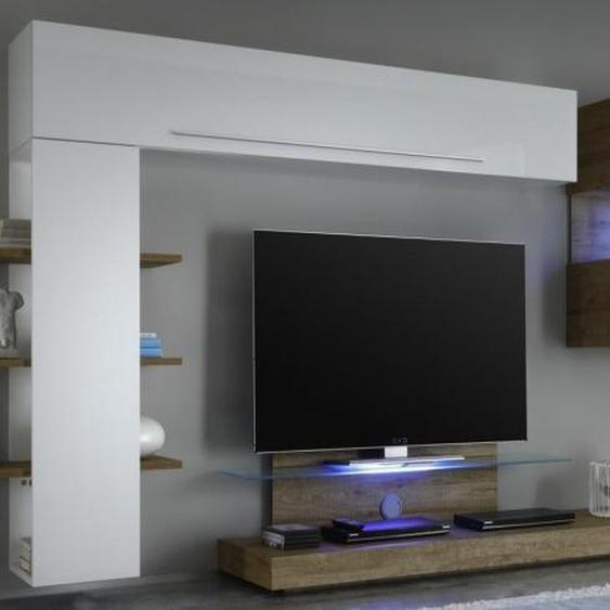 Meuble TV mural complet avec LED - Assen