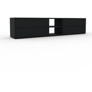 Meuble TV - Noir, contemporain, meuble hifi, multimedia raffiné, avec tiroir Noir - 190 x 41 x 35 cm, configurable