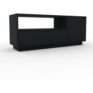 Meuble TV - Noir, design, meuble hifi, multimedia, avec porte Noir et tiroir Noir - 116 x 47 x 35 cm