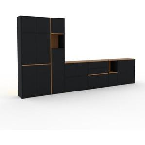 Meuble TV - Noir, design, meuble hifi, multimedia, avec porte Noir et tiroir Noir - 378 x 196 x 35 cm