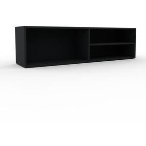 Meuble TV - Noir, design, meuble hifi, multimedia sophistiqué, pratique - 152 x 41 x 35 cm, personnalisable
