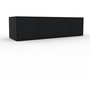 Meuble TV - Noir, moderne, meuble hifi et multimedia, élégant, avec porte Noir - 154 x 41 x 47 cm, configurable