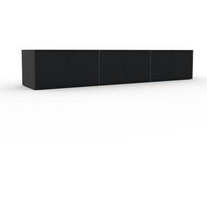 Meuble TV - Anthracite, moderne, meuble hifi et multimedia, élégant, avec porte Noir - 226 x 41 x 47 cm, configurable