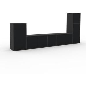 Meuble TV - Anthracite, moderne, meuble hifi et multimedia, élégant, avec porte Noir - 267 x 118 x 35 cm, configurable