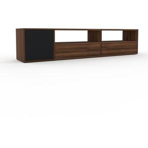Meuble TV - Noyer, design, meuble hifi, multimedia, avec porte Noir et tiroir Noyer - 190 x 41 x 35 cm