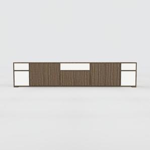 Meuble TV - Noyer, design, meuble hifi, multimedia, avec porte Noyer et tiroir Blanc - 303 x 62 x 47 cm