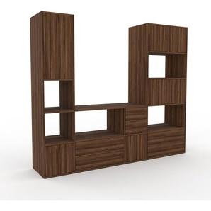 Meuble TV - Noyer, design, meuble hifi, multimedia, avec porte Noyer et tiroir Noyer - 229 x 195 x 47 cm