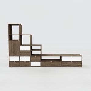 Meuble TV - Noyer, design, meuble hifi, multimedia, avec porte Noyer et tiroir Noyer - 267 x 158 x 47 cm