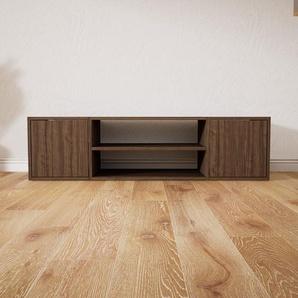 Meuble TV - Noyer, moderne, meuble hifi et multimedia, élégant, avec porte Noyer - 154 x 41 x 47 cm, configurable