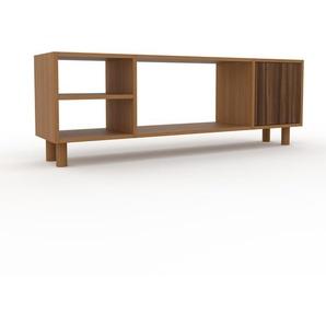 Meuble TV - Chêne, moderne, meuble hifi et multimedia, élégant, avec porte Noyer - 154 x 53 x 35 cm, configurable