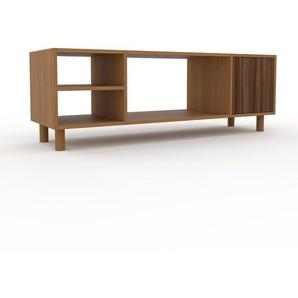 Meuble TV - Chêne, moderne, meuble hifi et multimedia, élégant, avec porte Noyer - 154 x 53 x 47 cm, configurable