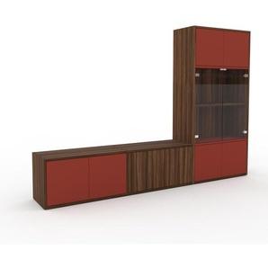 Meuble TV - Rouge, moderne, meuble hifi et multimedia, élégant, avec porte Rouge - 226 x 157 x 35 cm, configurable
