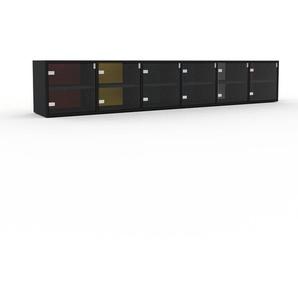 Meuble TV - Verre clair transparent, moderne, meuble hifi et multimedia, élégant, avec porte Verre clair transparent - 233 x 41 x 35 cm, configurable