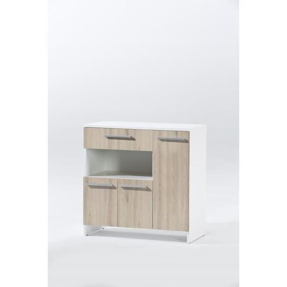 MIAMI - Buffet bas micro-onde décor chêne et blanc - L 80cm