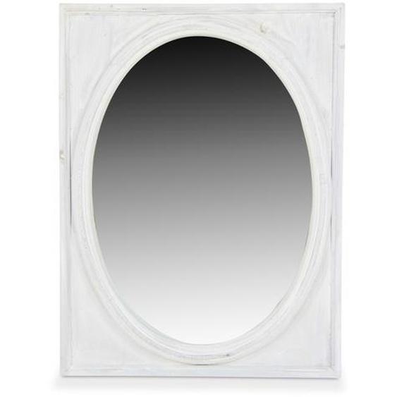 Miroir Ancien Oval Vertical Bois Cerusé Blanc 54.5x3.5x72cm