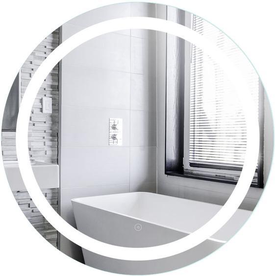 Miroir de Maquillage Miroir Rond Mural + Éclairage LED et Interrupteur Tactile 70*70*4.5cm - JEOBEST