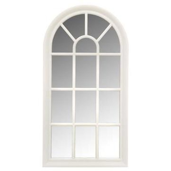 Miroir fenêtre arrondie - 71x36 cm - Blanc