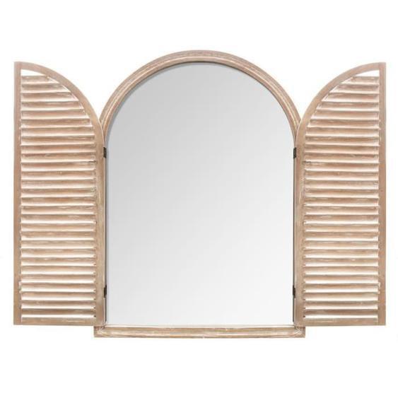Miroir naturel à volets en bois - 74 x 104 cm - Beige