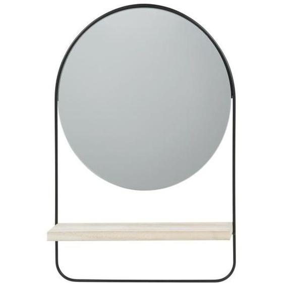 Miroir rond avec étagère - 30,5 x 45 x 7,5 cm - Noir