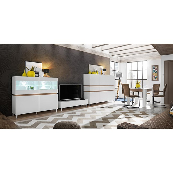 Mixy Ensemble de Meubles Salon Blanc Mat | Chene
