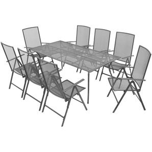 Mobilier à dîner 9 pcs et chaises pliables Acier Anthracite