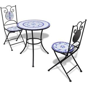 Mobilier de bistro 3 pcs Carreaux céramiques Bleu et blanc