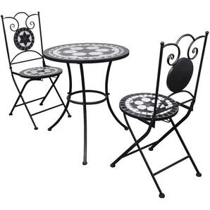 Mobilier de bistro 3 pcs Carreaux céramiques Noir et blanc