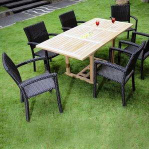Mobilier dexterieur en teck naturel : Lombok - 6 fauteuils résine