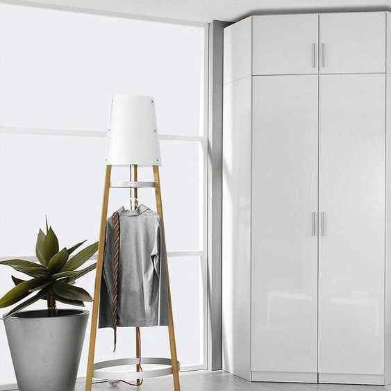 Mobistoxx Armoire de coin CELLON blanc 2 portes blanc brillant