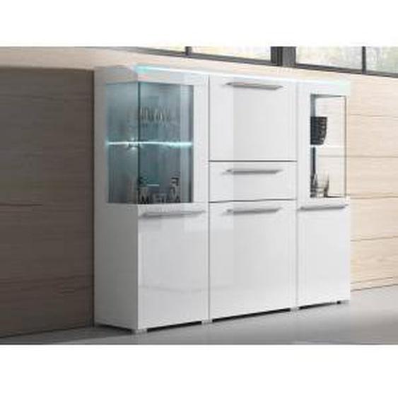 Mobistoxx Commode INDIRA 4 portes 1 tiroir blanc/blanc brillant sans led