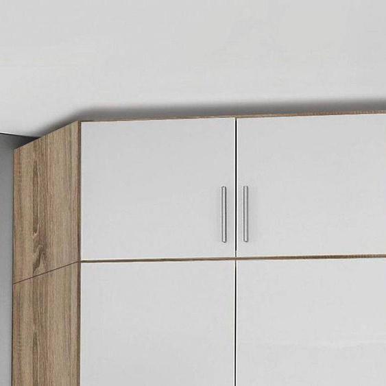 Mobistoxx Surmeuble de coin CELLON sonoma 2 portes blanc brillant