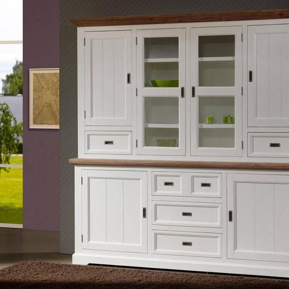 Mobistoxx Vaisselier CASABLANCA 6 portes et 5 tiroirs havanna/blanc