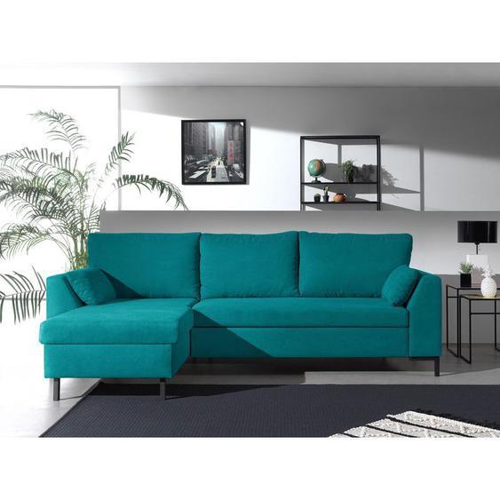 MONTANA - Canapé dangle réversible convertible en tissu Couleur - Bleu turquoise - LISA DESIGN